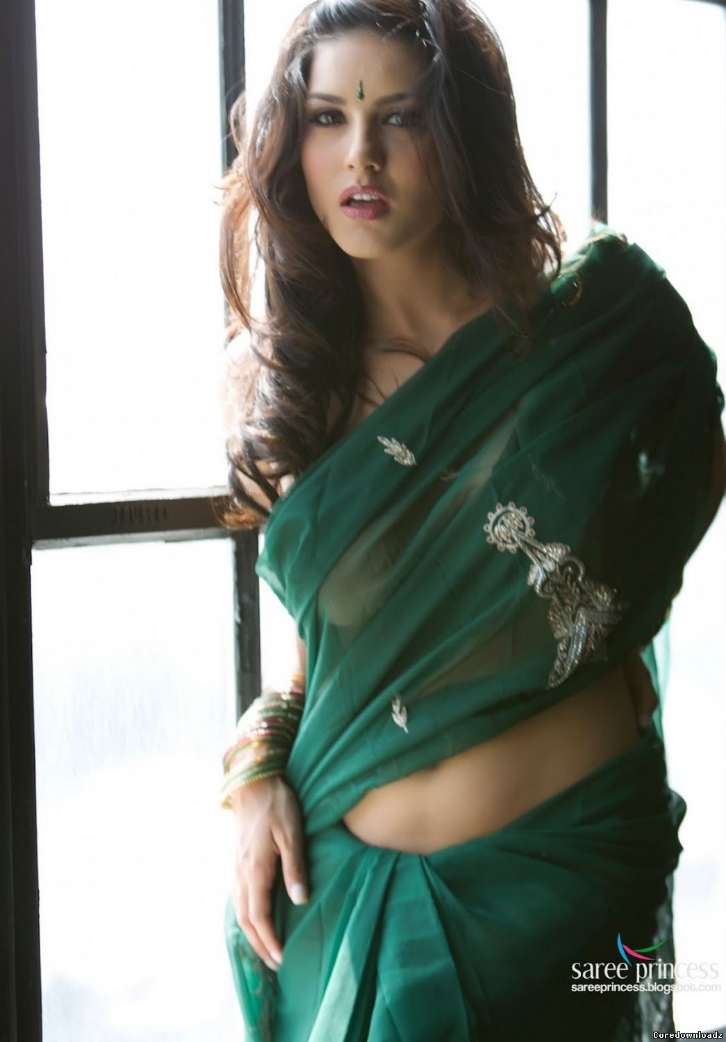 Sunny Leone Stripping Green Indian Saree for FHM Magazine India
